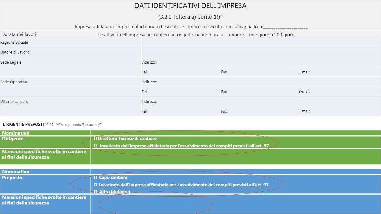 DATI IDENTIFICATIVI DELL'IMPRESA (3.2.1. lettera a) punto 1))* Impresa affidataria Impresa affidataria ed esecutrice Impresa esecutrice in sub appalto