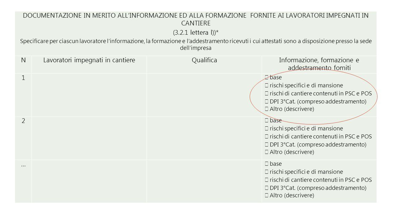 DOCUMENTAZIONE IN MERITO ALL'INFORMAZIONE ED ALLA FORMAZIONE FORNITE AI LAVORATORI IMPEGNATI IN CANTIERE (3.2.1 lettera l))* Specificare per ciascun l