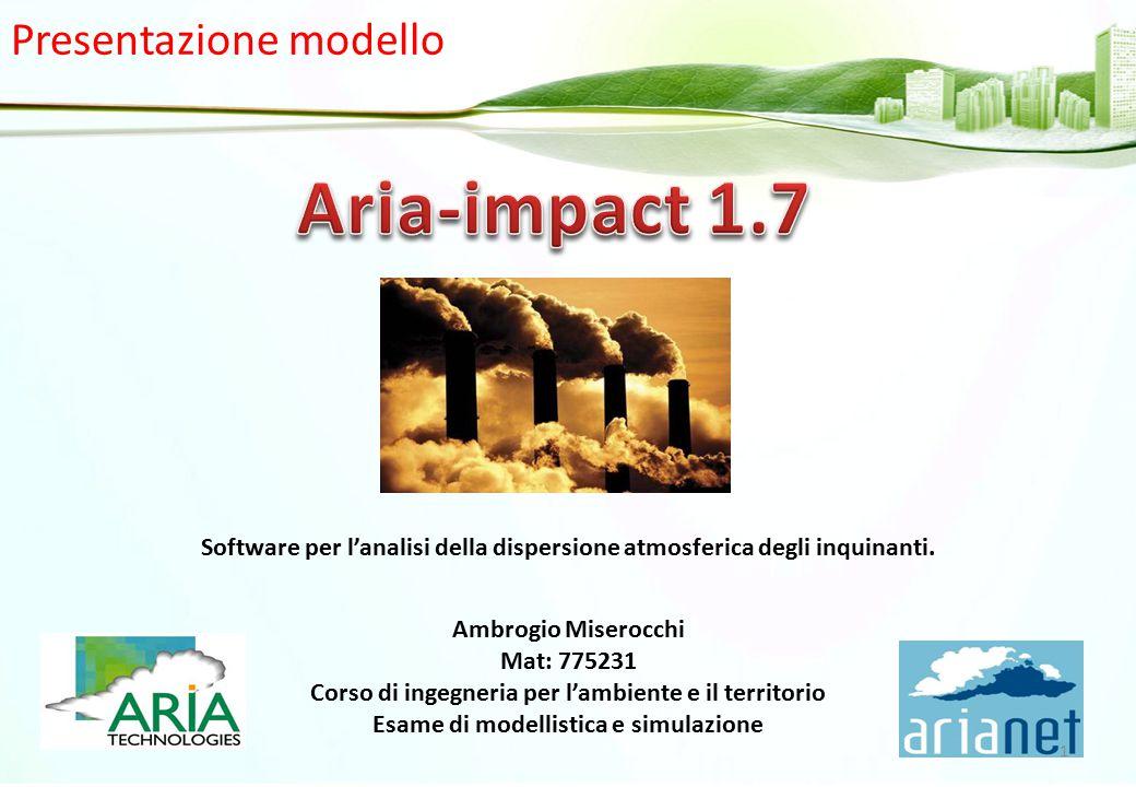 Presentazione modello Software per l'analisi della dispersione atmosferica degli inquinanti. Ambrogio Miserocchi Mat: 775231 Corso di ingegneria per l