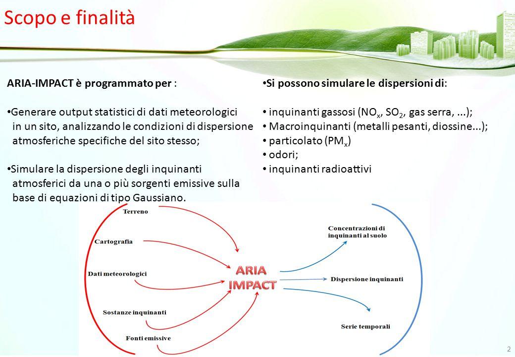 Scopo e finalità ARIA-IMPACT è programmato per : Generare output statistici di dati meteorologici in un sito, analizzando le condizioni di dispersione
