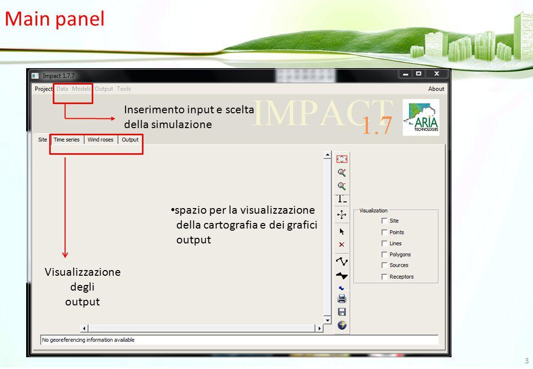 Main panel Visualizzazione degli output Inserimento input e scelta della simulazione spazio per la visualizzazione della cartografia e dei grafici out
