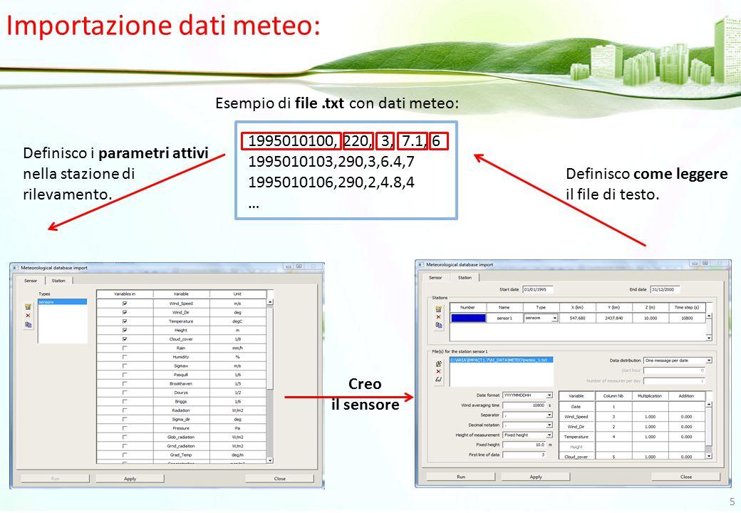 1995010100, 220, 3, 7.1, 6 1995010103,290,3,6.4,7 1995010106,290,2,4.8,4 … Esempio di file.txt con dati meteo: Definisco i parametri attivi nella staz