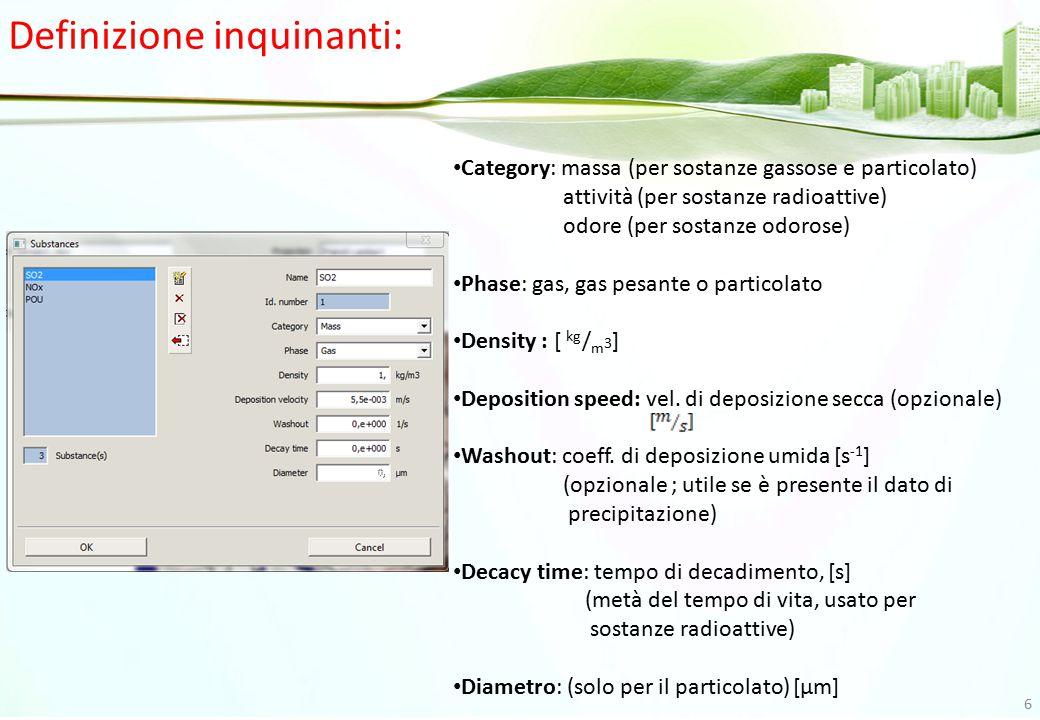 Opzioni per la simulazione: Domain: per selezionare le coordinate del dominio di simulazione.
