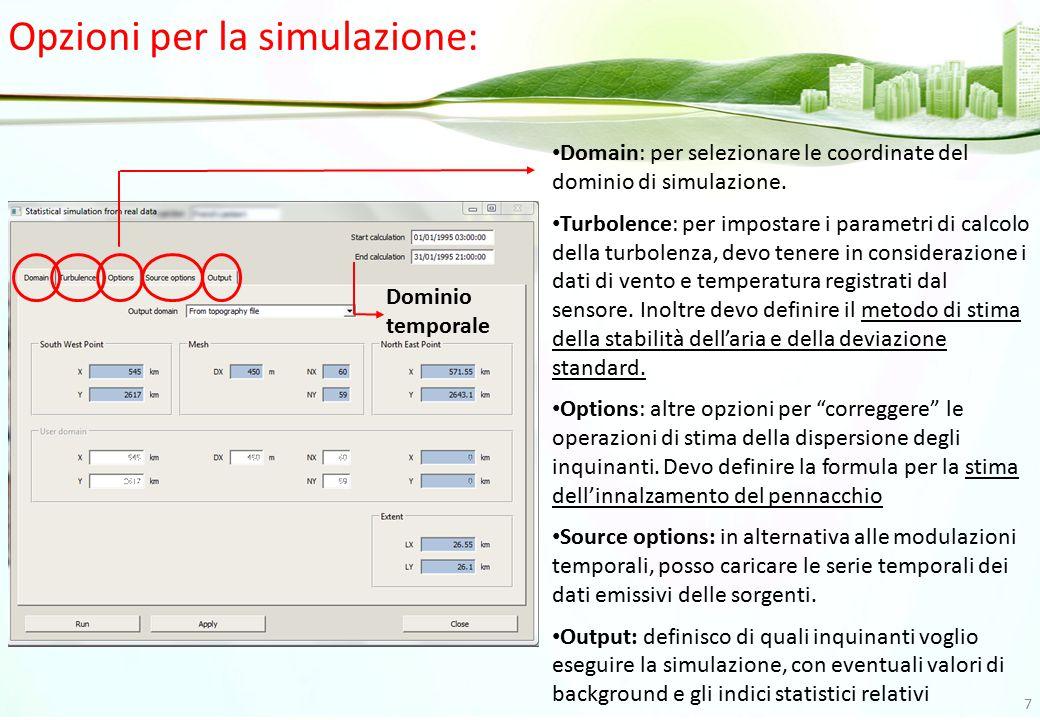 Opzioni per la simulazione: Domain: per selezionare le coordinate del dominio di simulazione. Turbolence: per impostare i parametri di calcolo della t
