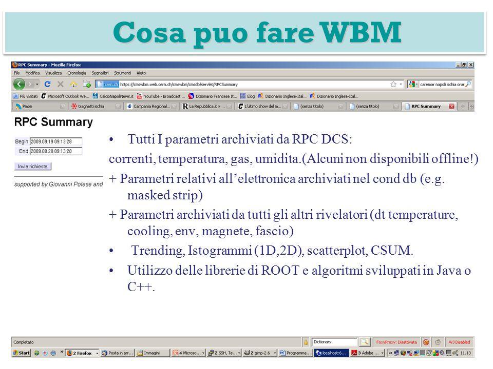 Tutti I parametri archiviati da RPC DCS: correnti, temperatura, gas, umidita.(Alcuni non disponibili offline!) + Parametri relativi all'elettronica archiviati nel cond db (e.g.