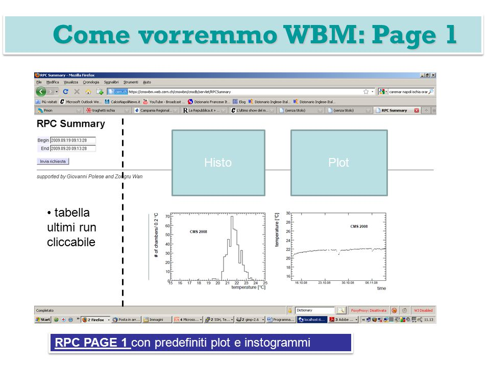 tabella ultimi run cliccabile HistoPlot Come vorremmo WBM: Page 1 RPC PAGE 1 con predefiniti plot e instogrammi