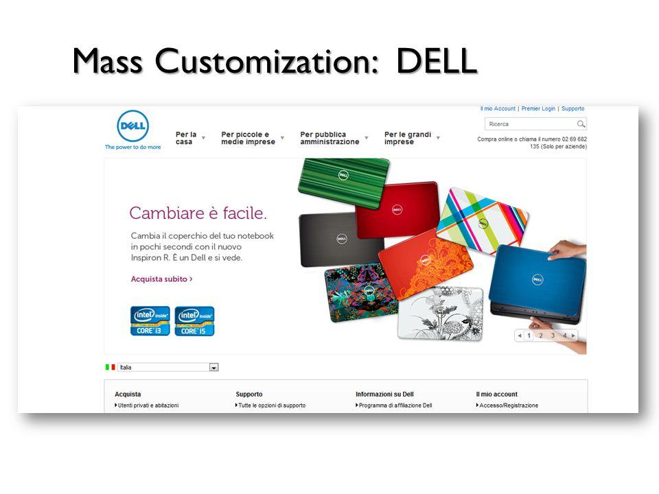 MASS CUSTOMIZATION (creazione di piattaforme modulari che permettono di personalizzare il prodotto finale) MARKETING STANDARDIZZATO CUSTOMERIZATION (il cliente diventa co- produttore) ONE-TO-ONE MARKETING (strategie promozionali e-mail Marketing) Differenz.
