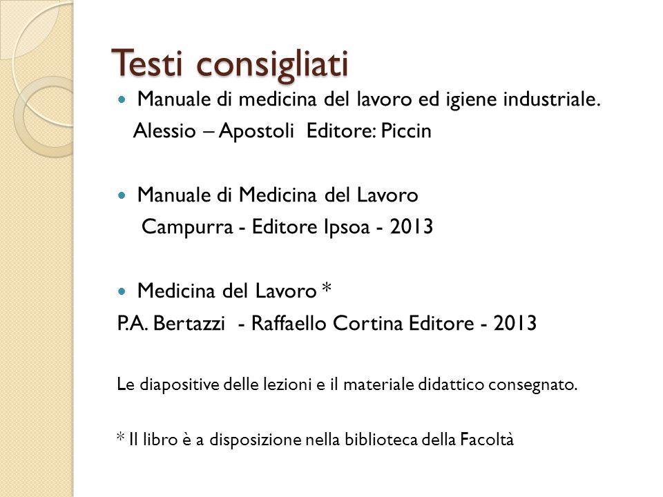 Testi consigliati Manuale di medicina del lavoro ed igiene industriale.
