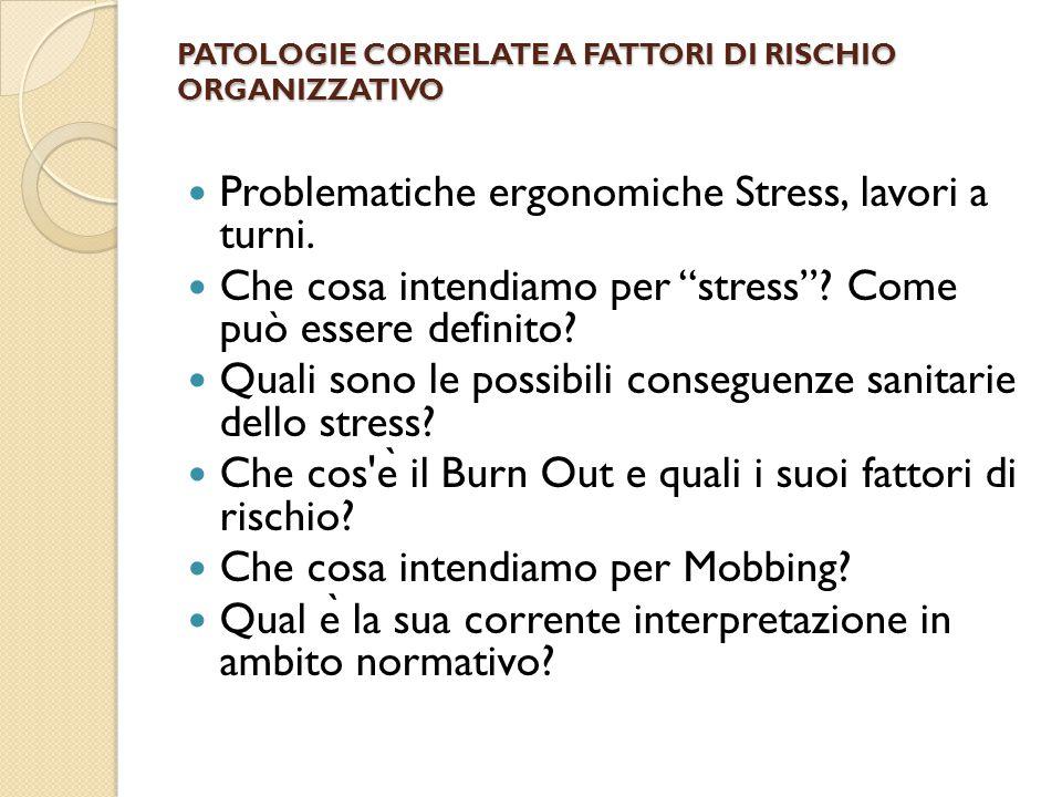 PATOLOGIE CORRELATE A FATTORI DI RISCHIO ORGANIZZATIVO Problematiche ergonomiche Stress, lavori a turni.