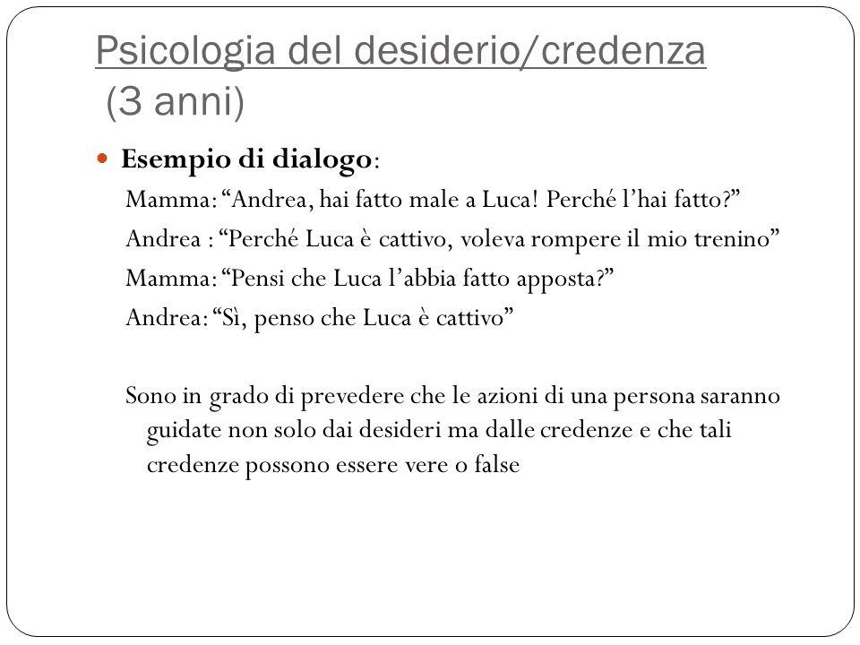 """Psicologia del desiderio/credenza (3 anni) Esempio di dialogo: Mamma: """"Andrea, hai fatto male a Luca! Perché l'hai fatto?"""" Andrea : """"Perché Luca è cat"""