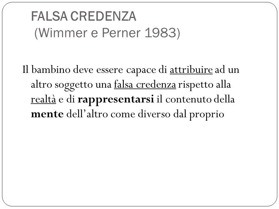 FALSA CREDENZA (Wimmer e Perner 1983) Il bambino deve essere capace di attribuire ad un altro soggetto una falsa credenza rispetto alla realtà e di rappresentarsi il contenuto della mente dell'altro come diverso dal proprio