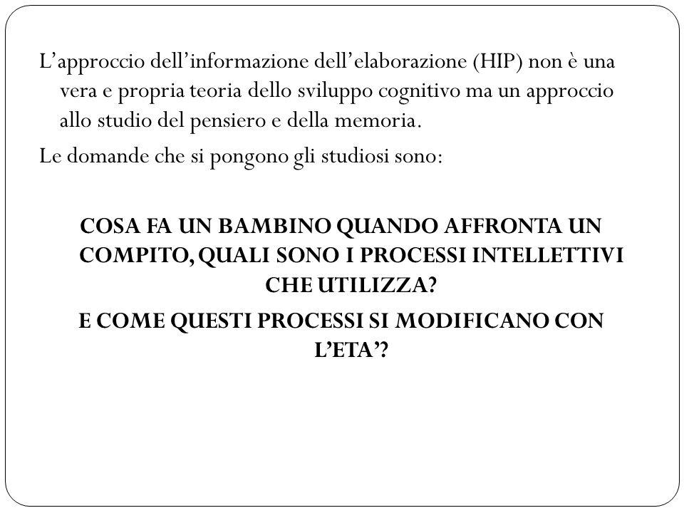 L'approccio dell'informazione dell'elaborazione (HIP) non è una vera e propria teoria dello sviluppo cognitivo ma un approccio allo studio del pensier