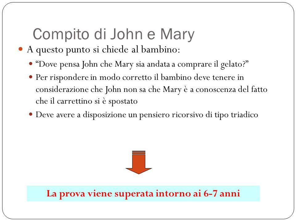 """Compito di John e Mary A questo punto si chiede al bambino: """"Dove pensa John che Mary sia andata a comprare il gelato?"""" Per rispondere in modo corrett"""
