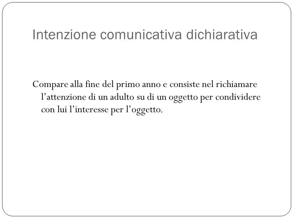 Intenzione comunicativa dichiarativa Compare alla fine del primo anno e consiste nel richiamare l'attenzione di un adulto su di un oggetto per condivi