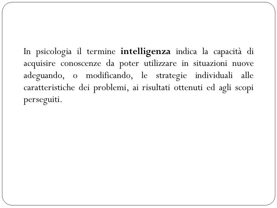 In psicologia il termine intelligenza indica la capacità di acquisire conoscenze da poter utilizzare in situazioni nuove adeguando, o modificando, le