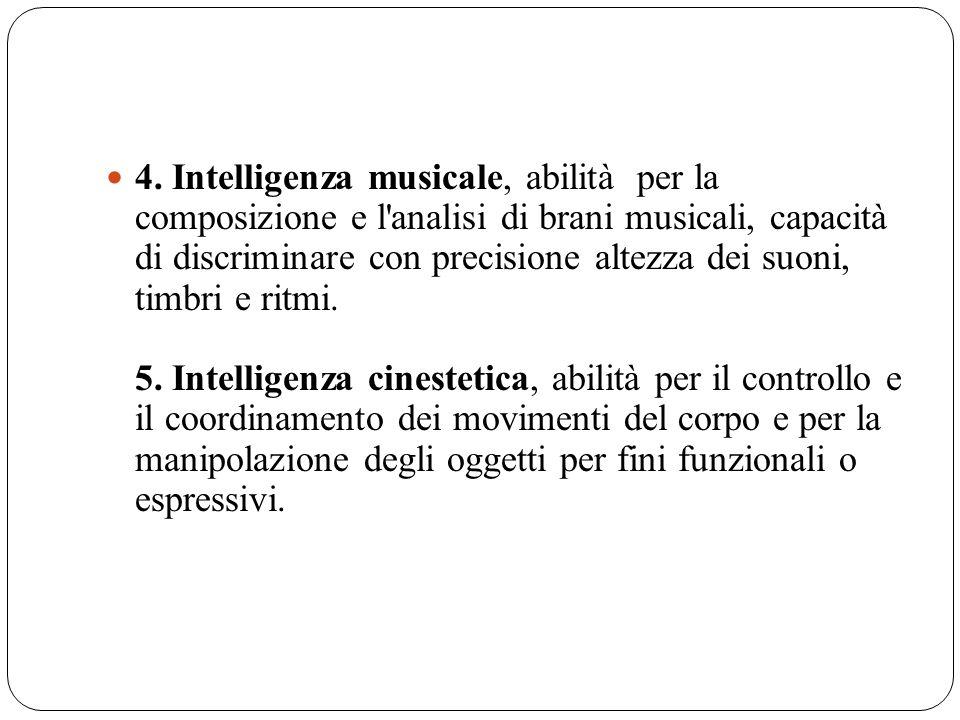 4. Intelligenza musicale, abilità per la composizione e l'analisi di brani musicali, capacità di discriminare con precisione altezza dei suoni, timbri