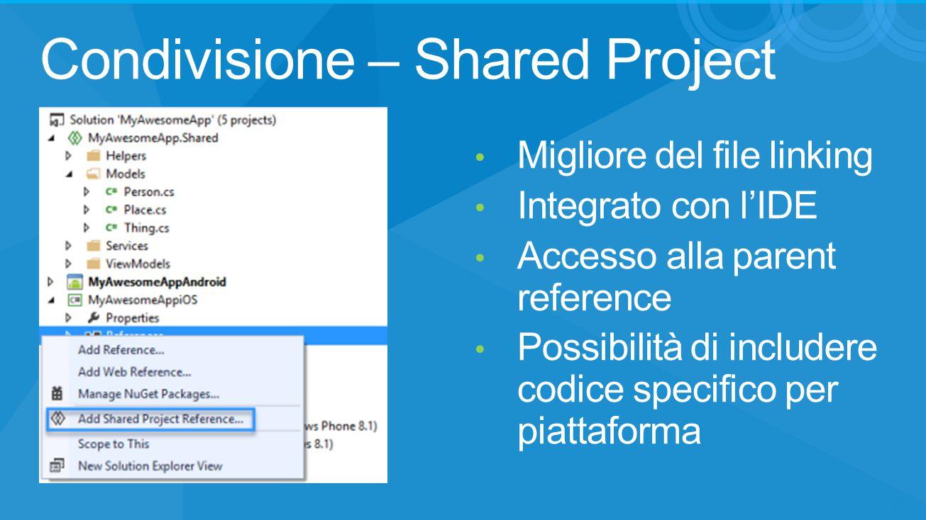 Condivisione – Shared Project Migliore del file linking Integrato con l'IDE Accesso alla parent reference Possibilità di includere codice specifico pe