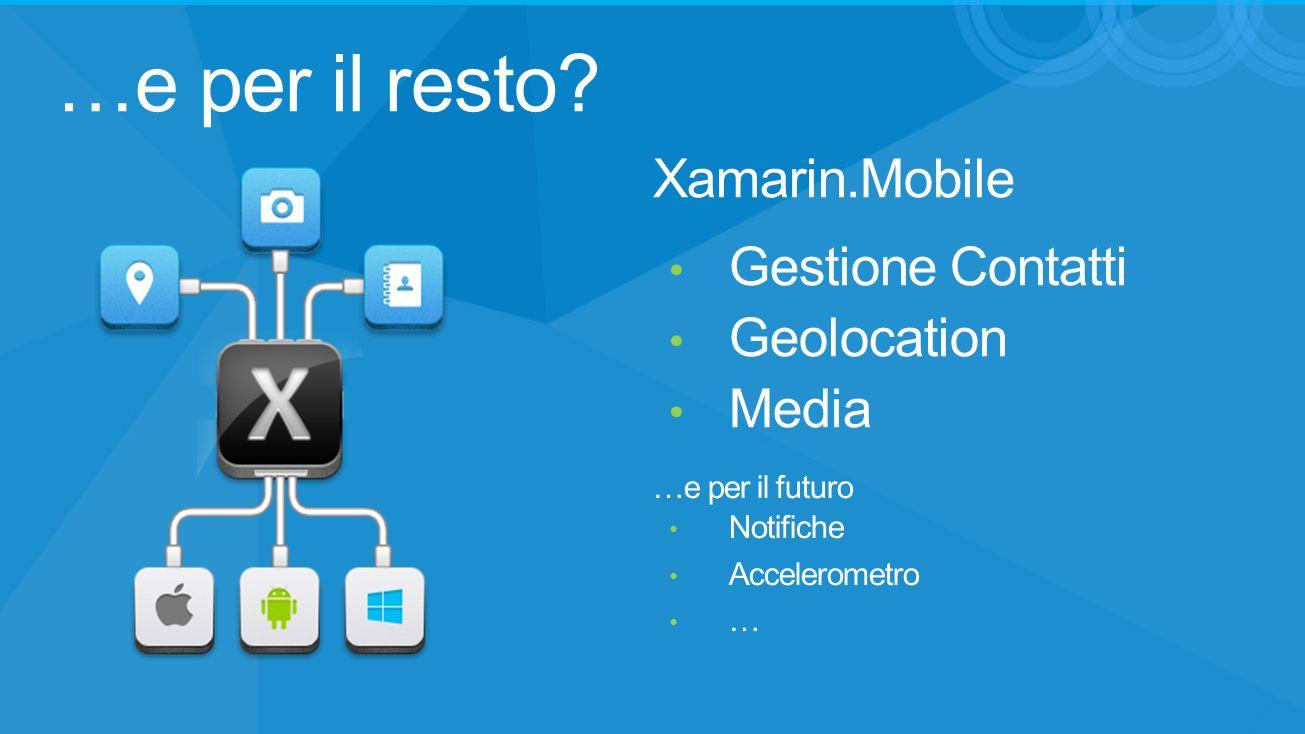 …e per il resto? Gestione Contatti Geolocation Media Xamarin.Mobile …e per il futuro Notifiche Accelerometro …