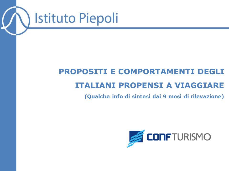 PROPOSITI E COMPORTAMENTI DEGLI ITALIANI PROPENSI A VIAGGIARE (Qualche info di sintesi dai 9 mesi di rilevazione)
