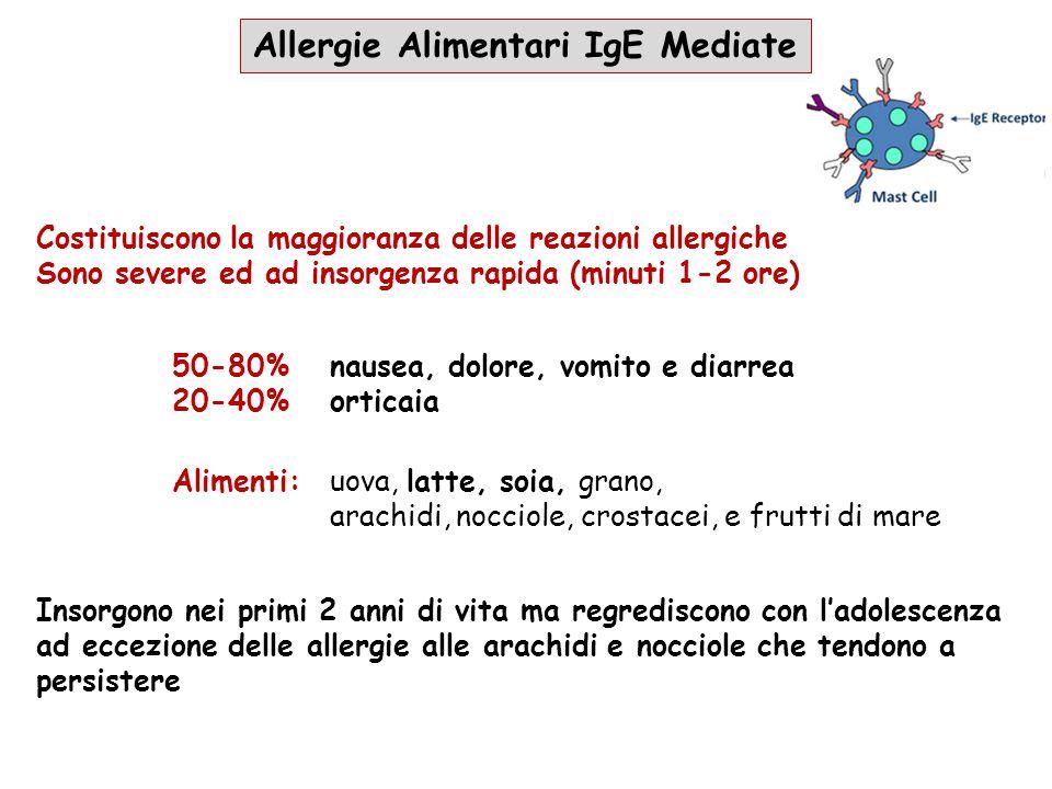 Allergie Alimentari IgE Mediate Alimenti:uova, latte, soia, grano, arachidi, nocciole, crostacei, e frutti di mare Insorgono nei primi 2 anni di vita