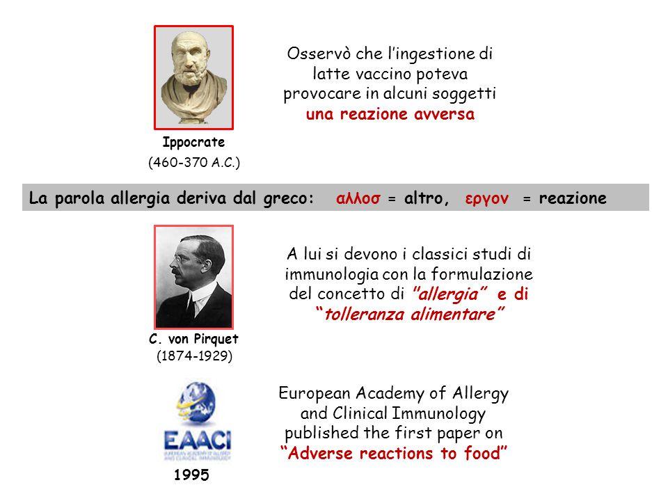 La parola allergia deriva dal greco: αλλοσ = altro, εργον = reazione A lui si devono i classici studi di immunologia con la formulazione del concetto