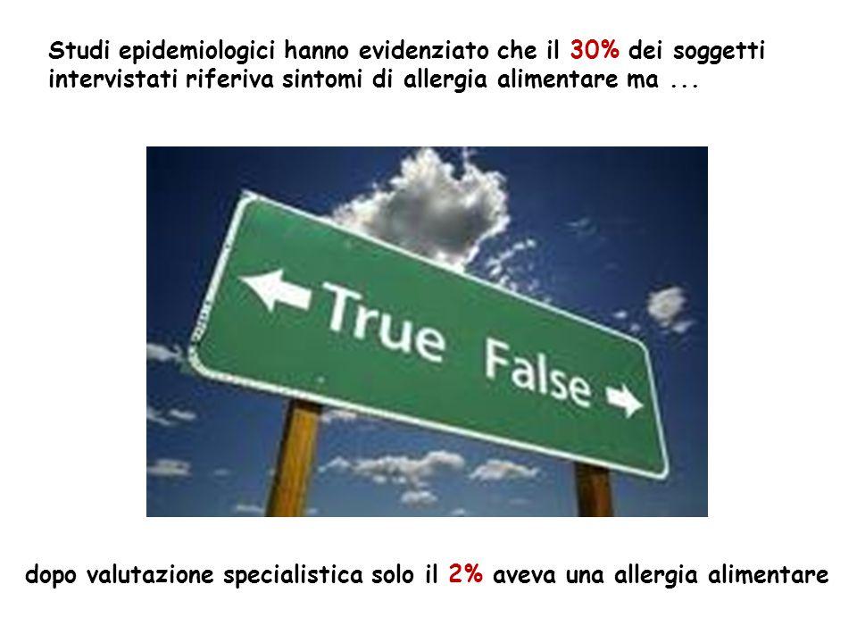 Studi epidemiologici hanno evidenziato che il 30% dei soggetti intervistati riferiva sintomi di allergia alimentare ma... dopo valutazione specialisti