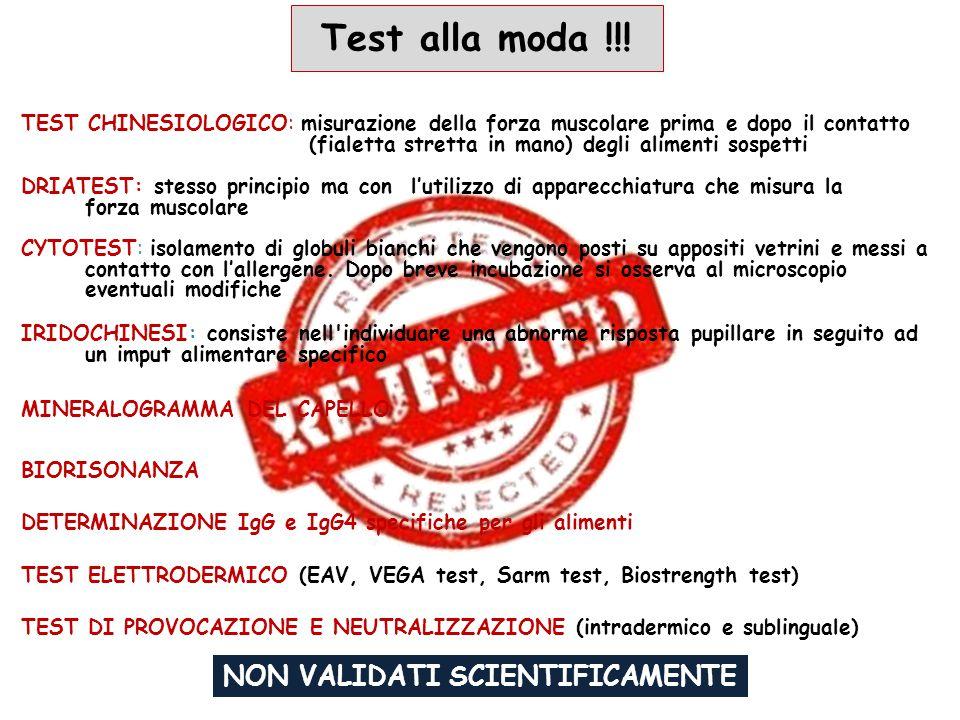 Test alla moda !!! TEST DI PROVOCAZIONE E NEUTRALIZZAZIONE (intradermico e sublinguale) BIORISONANZA MINERALOGRAMMA DEL CAPELLO DETERMINAZIONE IgG e I