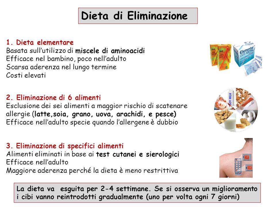 1. Dieta elementare Basata sull'utilizzo di miscele di aminoacidi Efficace nel bambino, poco nell'adulto Scarsa aderenza nel lungo termine Costi eleva