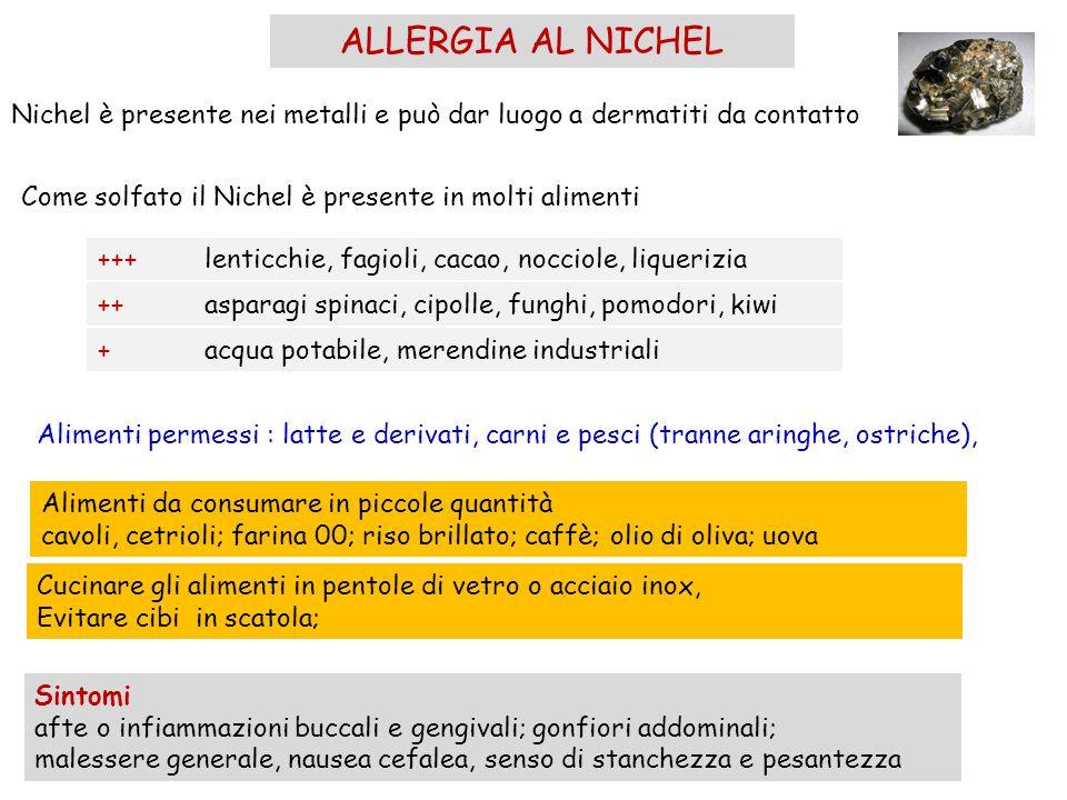 ALLERGIA AL NICHEL Nichel è presente nei metalli e può dar luogo a dermatiti da contatto Come solfato il Nichel è presente in molti alimenti +++lentic