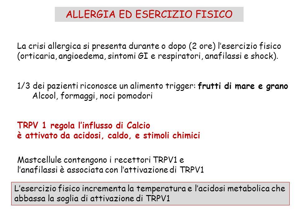 ALLERGIA ED ESERCIZIO FISICO La crisi allergica si presenta durante o dopo (2 ore) l'esercizio fisico (orticaria, angioedema, sintomi GI e respiratori