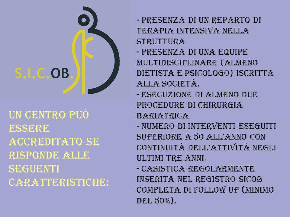- Presenza di un reparto di terapia intensiva nella struttura - Presenza di una equipe multidisciplinare (almeno dietista e psicologo) iscritta alla società.