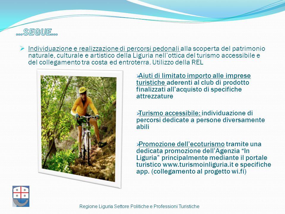  Individuazione e realizzazione di percorsi pedonali alla scoperta del patrimonio naturale, culturale e artistico della Liguria nell'ottica del turismo accessibile e del collegamento tra costa ed entroterra.