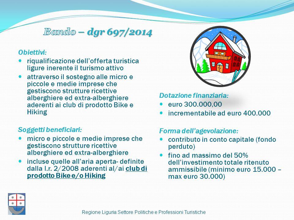 Obiettivi: riqualificazione dell'offerta turistica ligure inerente il turismo attivo attraverso il sostegno alle micro e piccole e medie imprese che g