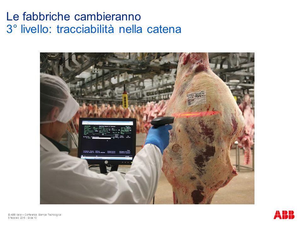 Le fabbriche cambieranno © ABB Italia – Conferenza Stampa Tecnologica 5 febbraio 2015 | Slide 10 3° livello: tracciabilità nella catena