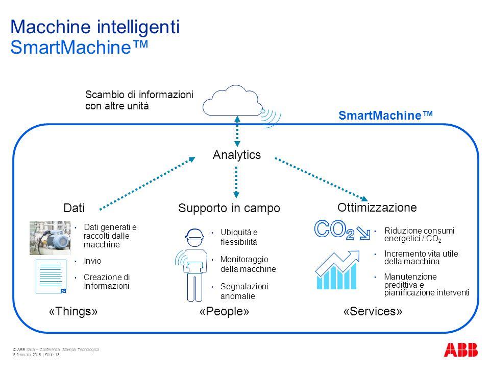 Macchine intelligenti SmartMachine™ © ABB Italia – Conferenza Stampa Tecnologica 5 febbraio 2015 | Slide 13 SmartMachine™ Dati Dati generati e raccolt