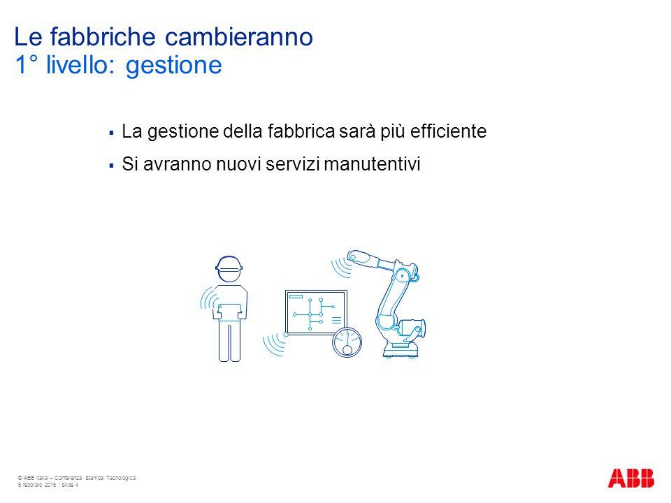 Le fabbriche cambieranno  La gestione della fabbrica sarà più efficiente  Si avranno nuovi servizi manutentivi © ABB Italia – Conferenza Stampa Tecn