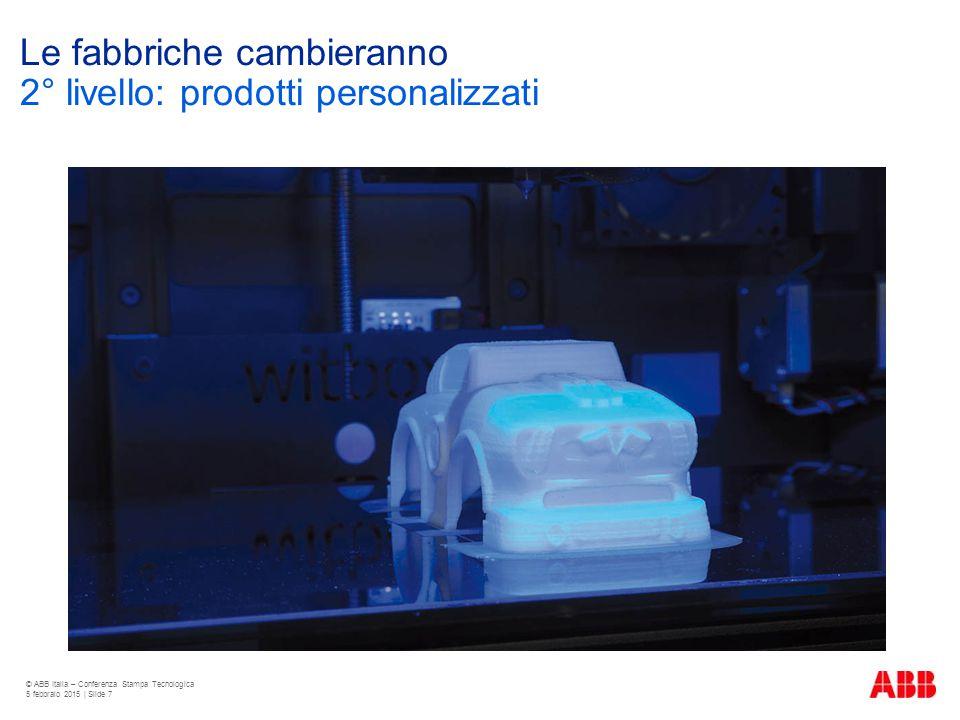 Le fabbriche cambieranno © ABB Italia – Conferenza Stampa Tecnologica 5 febbraio 2015 | Slide 7 2° livello: prodotti personalizzati
