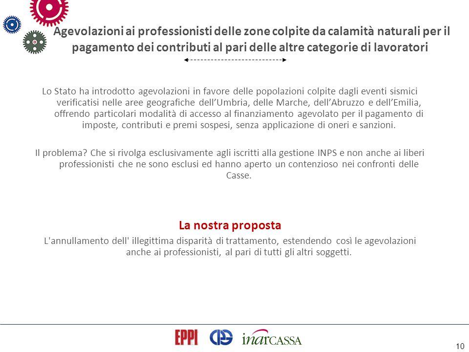 10 Agevolazioni ai professionisti delle zone colpite da calamità naturali per il pagamento dei contributi al pari delle altre categorie di lavoratori