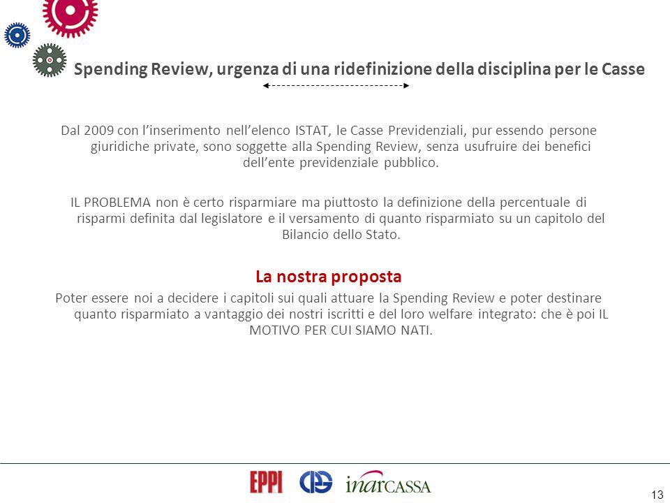 13 Spending Review, urgenza di una ridefinizione della disciplina per le Casse Dal 2009 con l'inserimento nell'elenco ISTAT, le Casse Previdenziali, p