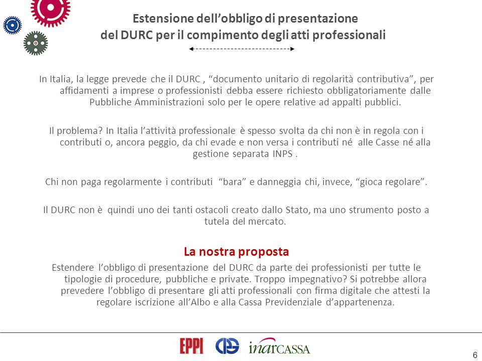 """6 Estensione dell'obbligo di presentazione del DURC per il compimento degli atti professionali In Italia, la legge prevede che il DURC, """"documento uni"""