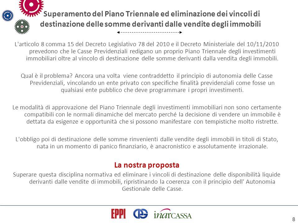 8 Superamento del Piano Triennale ed eliminazione dei vincoli di destinazione delle somme derivanti dalle vendite degli immobili L'articolo 8 comma 15