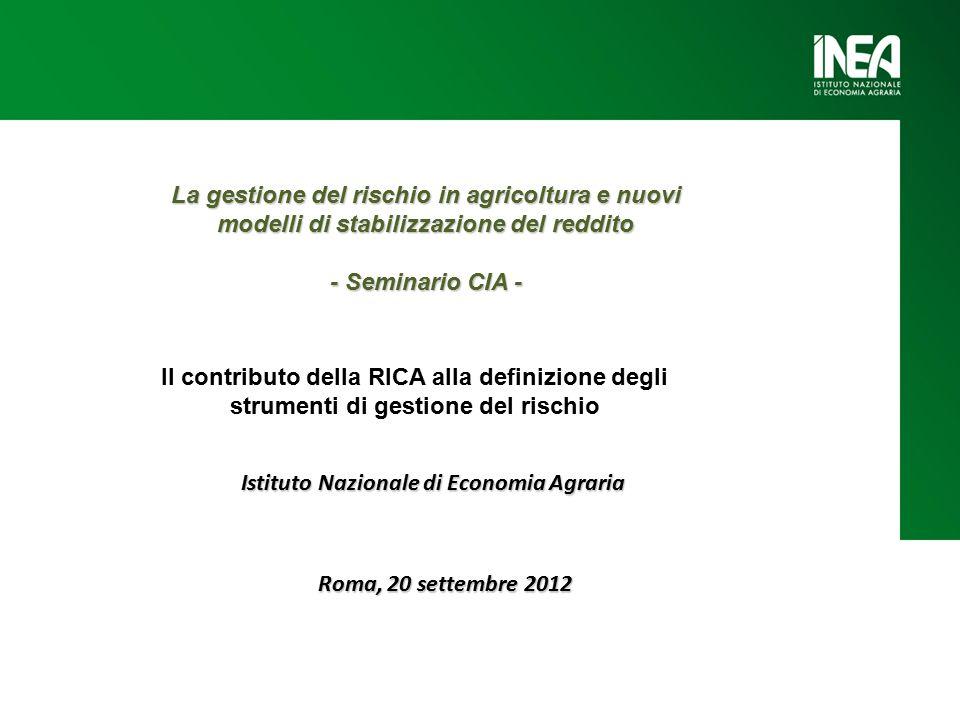 Roma, 20 settembre 2012 Istituto Nazionale di Economia Agraria La gestione del rischio in agricoltura e nuovi modelli di stabilizzazione del reddito - Seminario CIA - Il contributo della RICA alla definizione degli strumenti di gestione del rischio