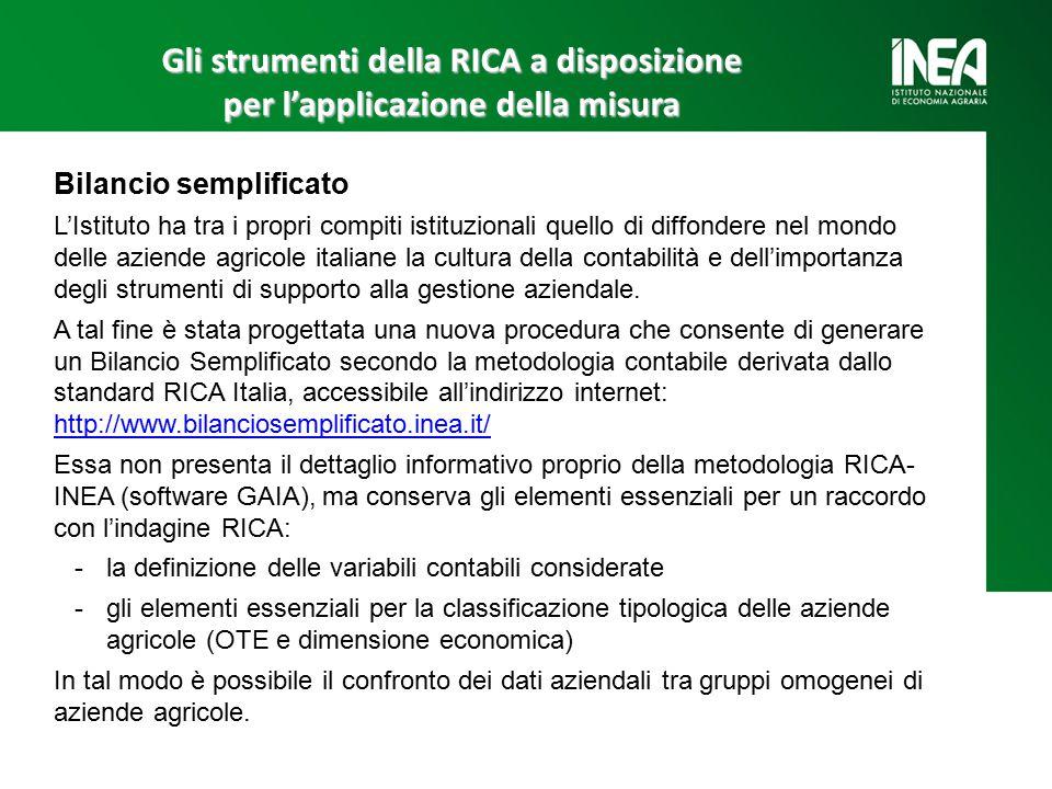 Gli strumenti della RICA a disposizione per l'applicazione della misura Bilancio semplificato L'Istituto ha tra i propri compiti istituzionali quello di diffondere nel mondo delle aziende agricole italiane la cultura della contabilità e dell'importanza degli strumenti di supporto alla gestione aziendale.