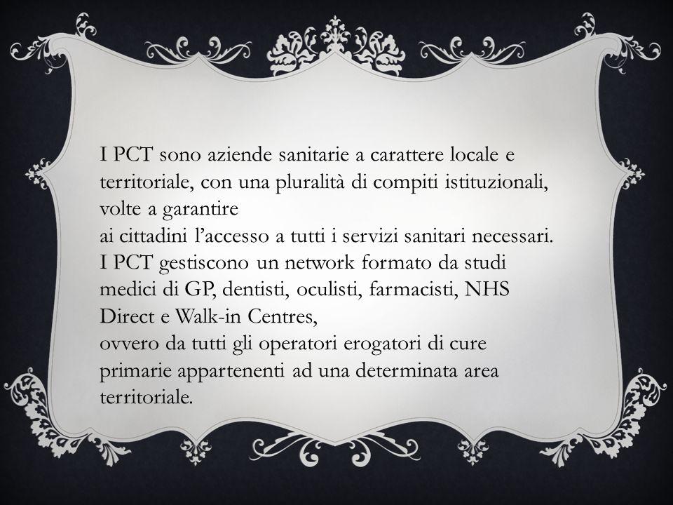 I PCT sono aziende sanitarie a carattere locale e territoriale, con una pluralità di compiti istituzionali, volte a garantire ai cittadini l'accesso a tutti i servizi sanitari necessari.