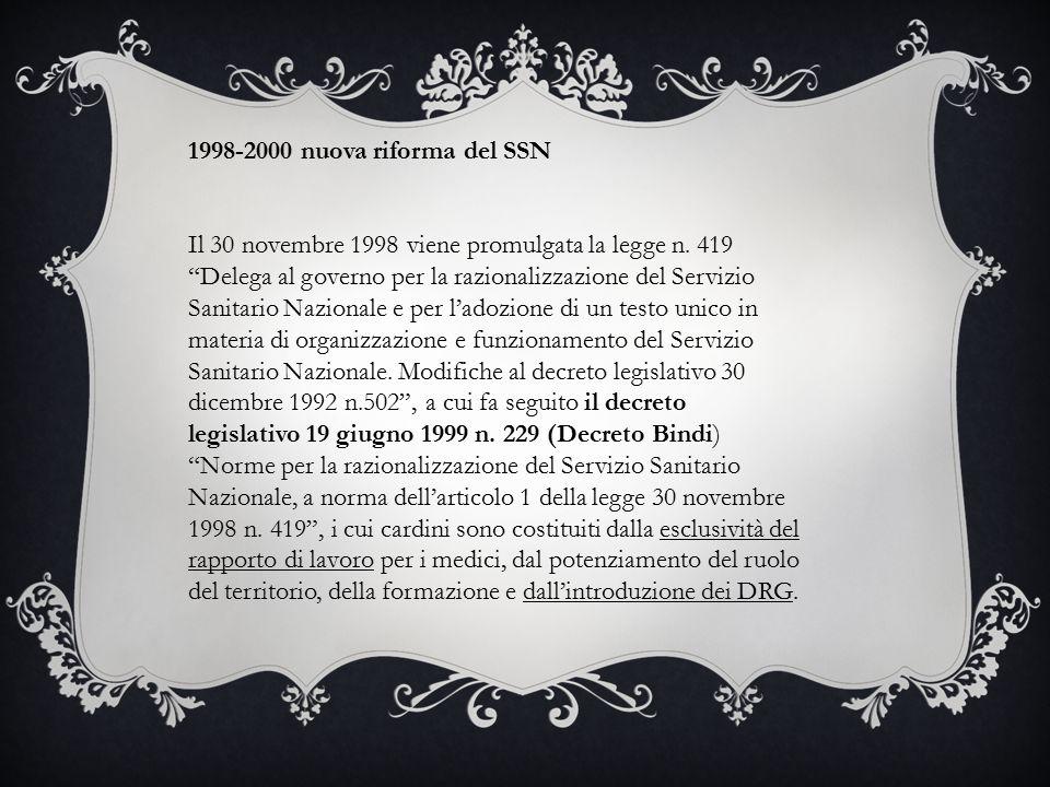 1998-2000 nuova riforma del SSN Il 30 novembre 1998 viene promulgata la legge n.