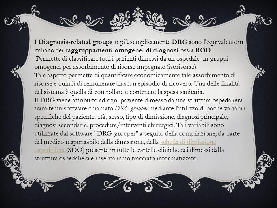 I Diagnosis-related groups o più semplicemente DRG sono l equivalente in italiano dei raggruppamenti omogenei di diagnosi ossia ROD.