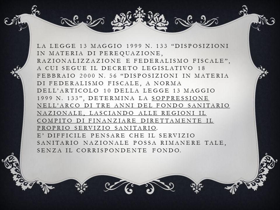 LA LEGGE 13 MAGGIO 1999 N.