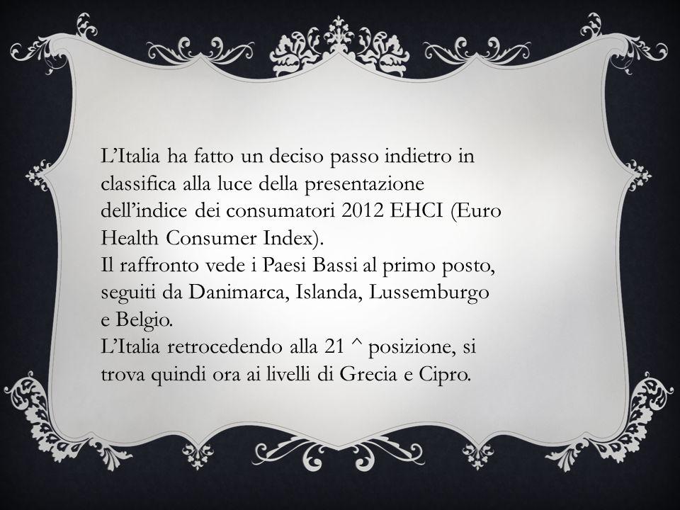 L'Italia ha fatto un deciso passo indietro in classifica alla luce della presentazione dell'indice dei consumatori 2012 EHCI (Euro Health Consumer Index).