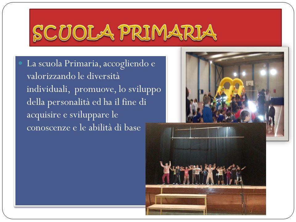 La scuola Primaria, accogliendo e valorizzando le diversità individuali, promuove, lo sviluppo della personalità ed ha il fine di acquisire e sviluppa