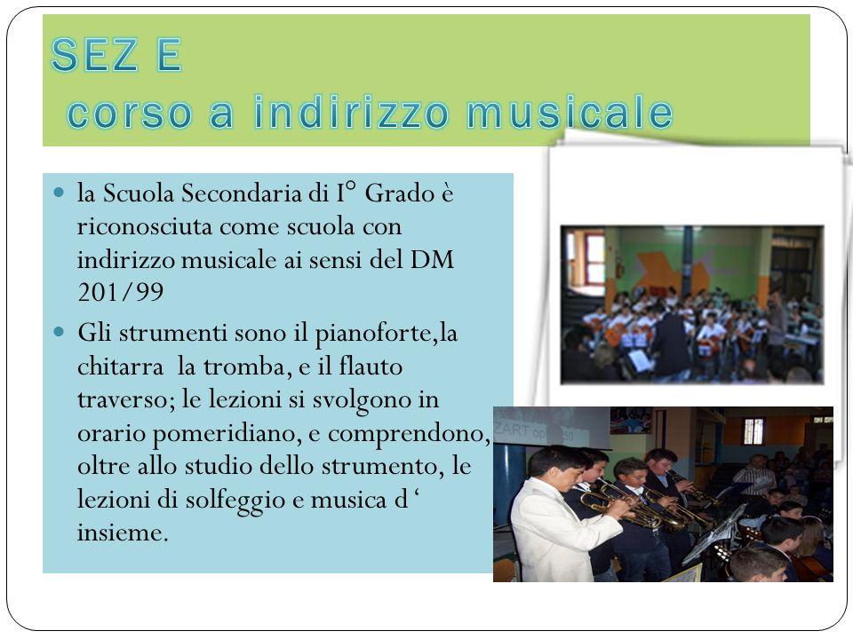 la Scuola Secondaria di I° Grado è riconosciuta come scuola con indirizzo musicale ai sensi del DM 201/99 Gli strumenti sono il pianoforte,la chitarra